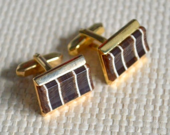 1970s Cufflinks Brown Tones Striped Wood Effect Acrylic in Gold Tone T Bar Fittings Cuff Links Oblong Shapes - Gift Box