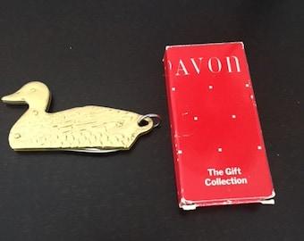 Shinny Brass AVON Duck Pen Knife with Original Box ~ UNUSED