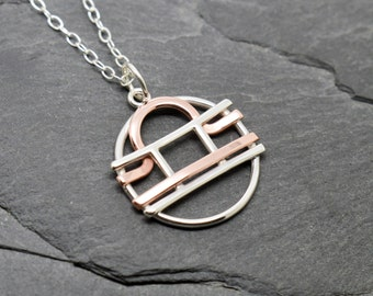 Gemini Libra zodiac necklace sterling silver and polished copper
