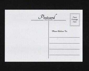 25 Blank Postcards - Soft Grey Cardstock - Elegant Font - #P18