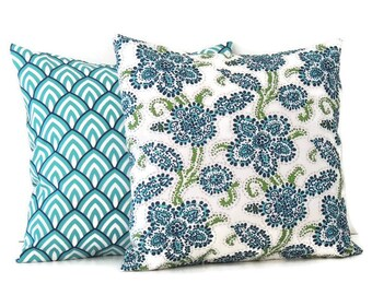 Blue Outdoor Pillow Covers, 16x16 Pillow Cover, Decorative Pillows, Outdoor decor, Lake house decor, Summer Pool Decor, Riley Lalo Oxford
