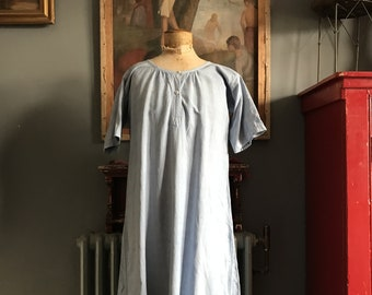 Antique French light blue linen cotton metis smock size S