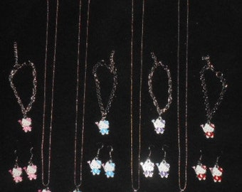 """3 PC Hello Kitty """"Wanded Heart"""" Jewelry Set- Choice of Colors"""