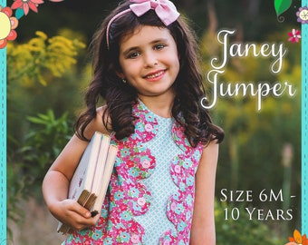 The Cottage Mama Girls Paper Sewing Pattern Janey Jumper A Line  Dress Top 6 months-10 years