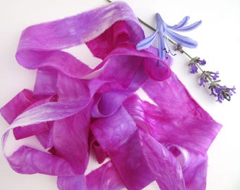 Hand Dyed Silk Ribbon - Raw Edged Ribbon - Felting - Pink and Purple Berries