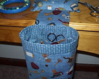 Thread Catcher, Scrap Caddy, Scrap Bag, Pin Cushion With Rubberized Gripper Strip - Sewing Notions - Blue