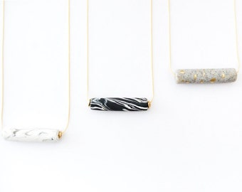 Marbled Cylinder Bar Necklace - Mixed Media - Mixed Materials - Black and White - Marbled Texture Jewelry - Minimalist - Marbled Jewelry