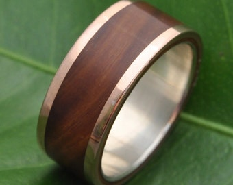 Rose Gold Wood Ring Lados Guayacán Lignum Vitae 14k Recycled Rose Gold  - ecofriendly wood wedding band, 14k yellow gold wood wedding ring