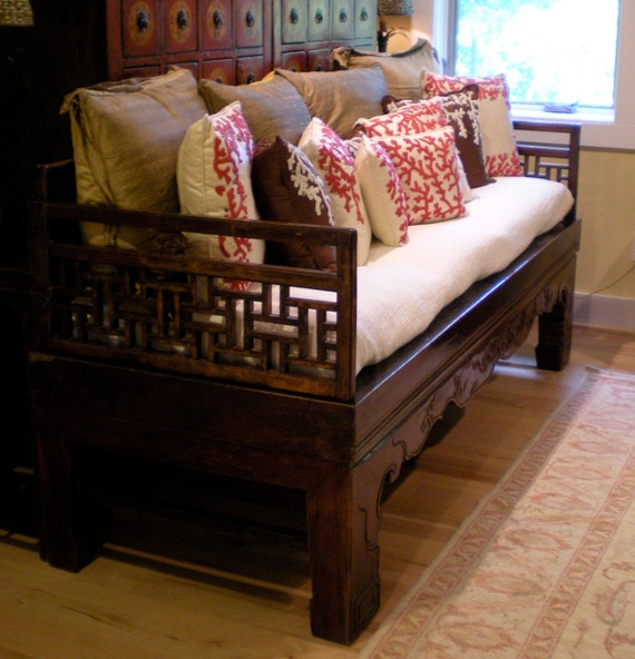 Asian Chinese Antique 1800s elm wood carved daybed or