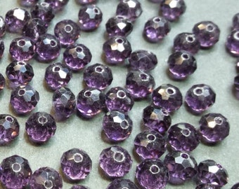 30 6x4mm faceted purple glass beads