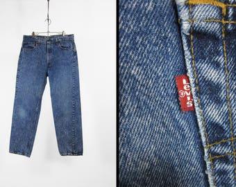 Vintage Levi's Acid Wash Jeans 505 Red Tab Distressed Denim - 35 x 30