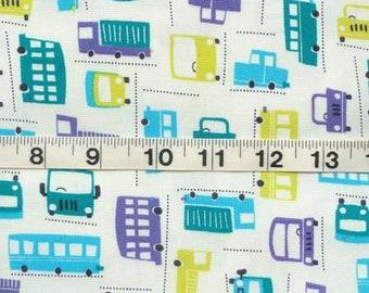 Cars Trucks Bus Automobile Transportation Blues Japanese Kawaii Fabric FQ