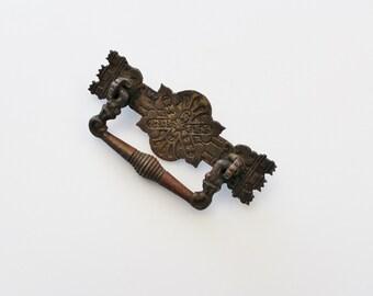 Antique Brass Drawer Pull - Brass Engraved Furniture Hardware Restoration