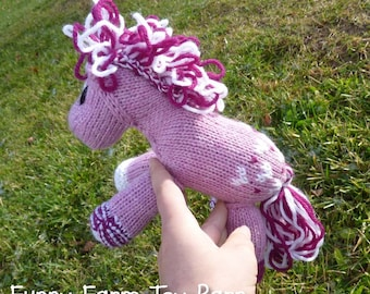 Sweetie: Knitted Pony Stuffed Animal Horse Pink Hearts Valentines Day Toy