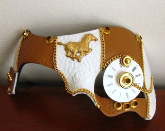 Steampunk Brown Leather Mask, Zebra, Pocket Watch, Monocle - The Old Ticker