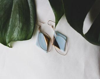Ceramic Earrings | Diamond Earrings | Light Blue Earrings