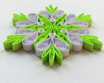 Quilled Snowflakes Paper Quilling Art Christmas Tree Decor Winter Hanging Ornaments Gifts Toppers Mandala Office Corporate Neon Green White