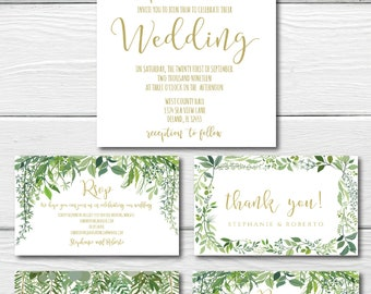Greenery Wedding Invitation Set Template Outdoor Wedding Printable Rustic Wedding Beach Wedding Editable PDF #IDWS604_20A