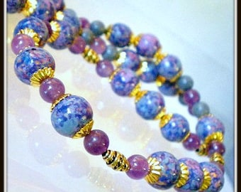 Amethyst Necklace, Purple Necklace, Painted Wood Beads Jewelry, Blue Sponge Coral, Blue Necklace, Amethyst Jewelryth