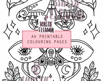 A4 Printable Colouring Page - Lunar Moths