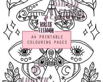 A4 Page à colorier imprimer - papillons de nuit lunaires