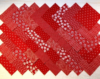 RED PRINTS 4 inch Squares, 100% cotton, prewashed  Quilt Block Fabric  (#A3C)