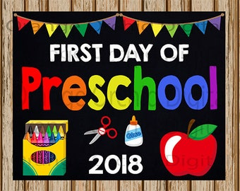 """INSTANT DOWNLOAD- First Day of Preschool Sign- School Chalkboard sign- School Digital Sign-School Photography Prop-8"""" x 10"""" image-Digital"""