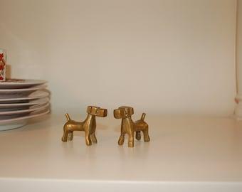 Pair Miniature Brass Decorative Dogs Doggies
