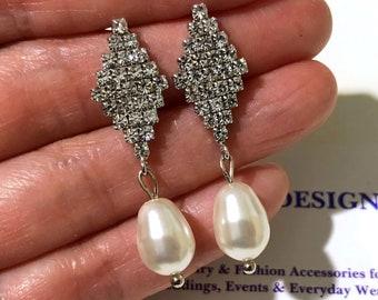 Art Deco Gatsby Wedding Earrings, Pearl Drop Bridal Earrings, Geometric Sterling Silver Posts, Cubic Zirconia Cz Bridal Jewelry Gift, CARINE