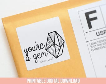 You're a Gem - Thank You Stickers - Jewelry Packaging - Packaging Stickers - Gem Stickers - Consultant Stickers - Gem Party - Favor Stickers