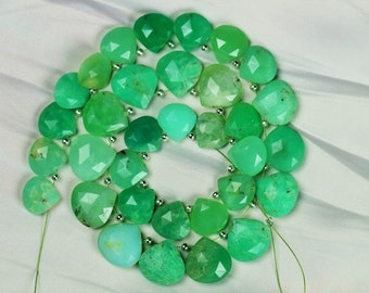 11 inch long strand faceted CHRYSOPRASE briolette beads 4.5 x 11 -- 5 x 14 mm