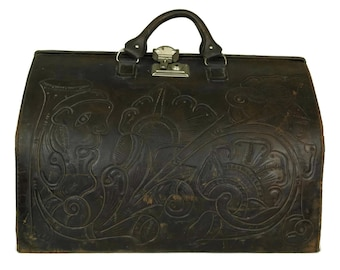 Tooled Leather Gladstone Bag. French Folk Art Flower Suitcase. Brown Doctors Bag.