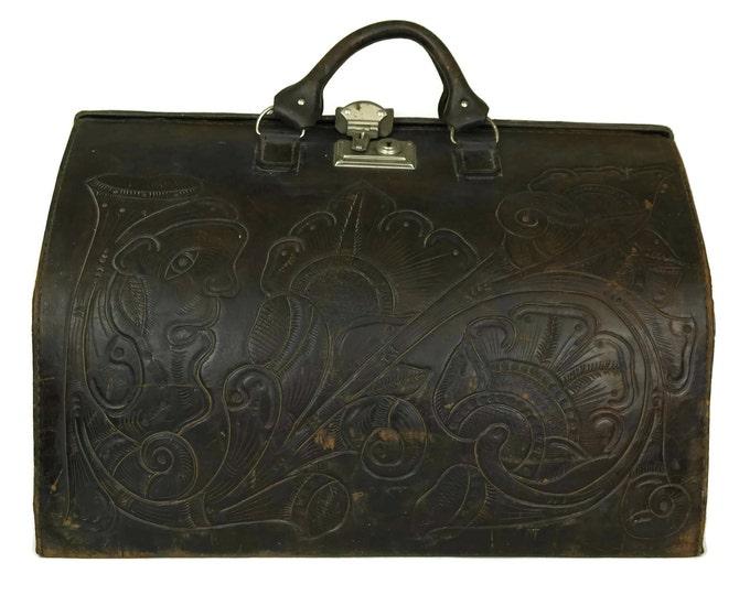 Tooled Leather Gladstone Bag. French Folk Art Flower Suitcase. Brown Doctors Bag.