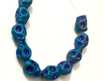 8x10mm Matte Blue Crystal Skull Beads (10), Glass Skulls, Electroplated Blue  Craft supplies