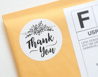 Thank You Stickers - Handdrawn Stickers - Favor Bag Stickers - Floral Stickers - Packaging Stickers - Thank You Label - Printed Stickers