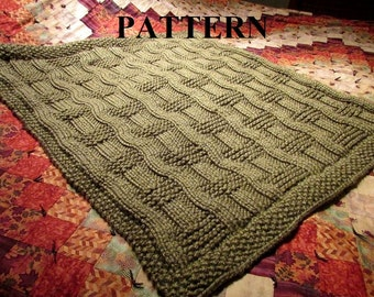 Knit Baby Blanket Pattern, Knitting Pattern, Chunky Yarn, Knit Purl Stitch Only, Chart Pattern Included, **Instant Download**