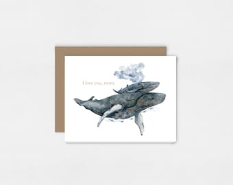 Mother Whale and Calf | Watercolor Art Print Greeting Card | 5x7