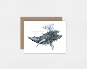 Mère baleine et veau | Carte de voeux aquarelle Art Print | 5 x 7
