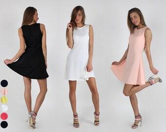 New!!! Short monochrome A-line dress/ Short dress/ Black dress/ White dress/ Yellow dress/ Midi dress/ Coral dress