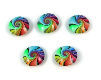 "Rainbow Lentil Focal Beads Handmade Polymer Clay Five Jewelry Making Bead Supplies Varnished 7/8"" 22 mm"