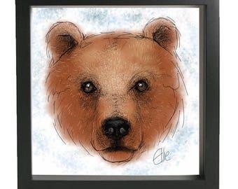 Framed bear print // christmas bear print // bear art // brown bear print // grizzly bear print // bear gifts // bear decor // winter decor