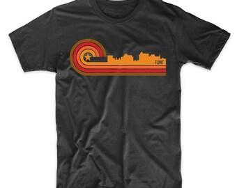 Retro Style Flint Michigan Skyline T-Shirt