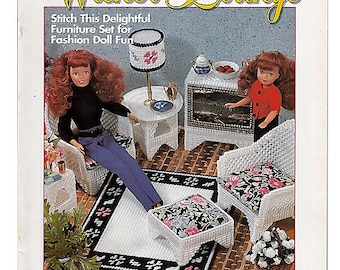 Fashion Doll Wicker Lounge Plastic Canvas Pattern House of White Birches