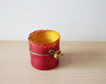 Tea light candle holder, ceramic candle holder, red candle holder, multi colour, tea light holder, hand painted, boho decor tea light