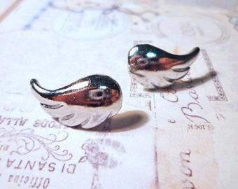 Silver Wings Stud Earrings
