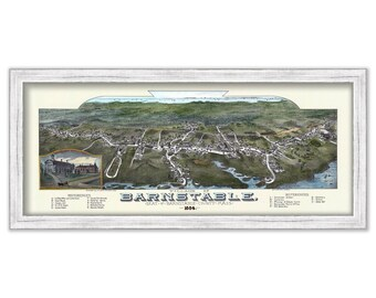 Bird's Eye View Of Barnstable Village 1884