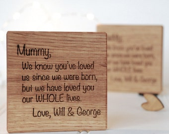 Letter To Wooden Coaster - Gift from the Grandkids -Grandparent Gift - Wooden Coaster - Gift For Nanny - Gift for Mum - Personalised Gift