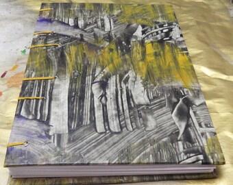 Paste Paper Coptic Stitch handmade Blank Book Black, white, gray, yellow, goldish orange