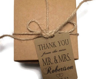 Wedding Thank You Tags -Personalized Wedding Favor Tags- the new Mr. & Mrs. Thank you hang tags