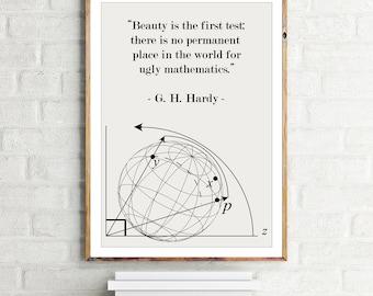 Math Poster G.H. Hardy quote Beauty in Mathematics - Science Art / Mathematical / Physics / Scandinavian Design Wall Art Minimalist